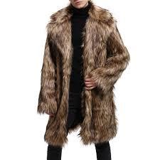 men s faux fur coat turndown collar long sleeve winter overcoat