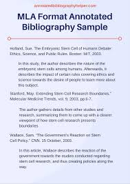 Sample Mla Annotated Bibliography Example Mla Style Guide 8th