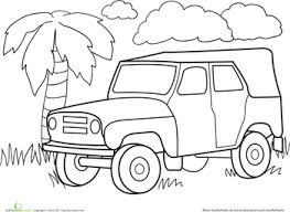 Color A Car Jungle Jeep Classroom Worksheets For Kids Painting