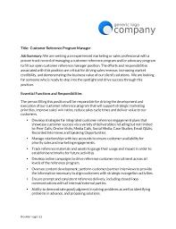 Job Posting Template Customer Reference Manager Job Posting Template