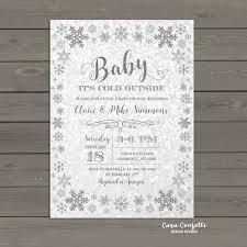 Snowflake Baby Shower Invitations Winter Wonderland Baby Shower Invitation Baby Its Cold Outside