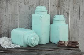 Green Canister Sets Kitchen Canister Set Shabby Chic Mint Green Hand Painted