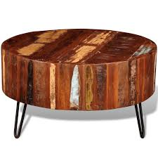 round solid wood coffee table with metal legs