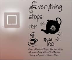 stop for tea kitchen cafe wall art sticker vinyl decal