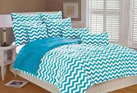 appealing turquoise blue and whtie chevron bedding ideas