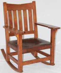 gustav stickley oak v back rocking chair