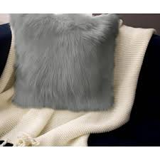 Decorative Pillow Set Jean Pierre Faux Fur 2 Piece Decorative Pillow Set In Light Gray