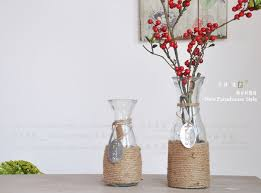 Home vase decoration hemp rope glass vase hydroponic glass flower pot  flowers vase