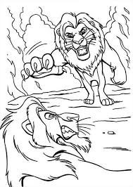 Small Picture Mufasa and Scar are Fighting The Lion King Coloring Page