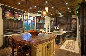italian style kitchen with rustic tile counter and two islands