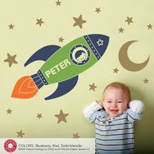 rocket wall decals popular items sample name outer simple colors peter green children stars moon