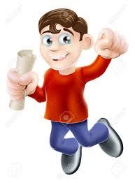 Иллюстрация счастливый человек прыгает в воздухе с руку в кулак  Иллюстрация счастливый человек прыгает в воздухе с руку в кулак держит свиток диплом или другой документ