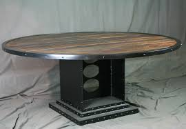 dining tables marvellous round industrial dining table reclaimed wood and metal dining table wood and