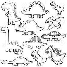 恐竜の漫画のキャラクターの塗り絵のベクトル イラスト