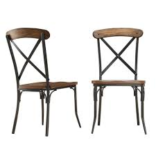 homesullivan cabela distressed ash wood and metal dining chair set of 2