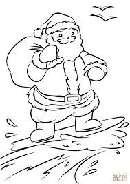 Small Picture Santa Surfing coloring page Free Printable Coloring Pages