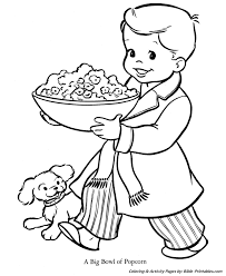 Small Picture Christmas Kids Coloring Pages Bowl of Popcorn