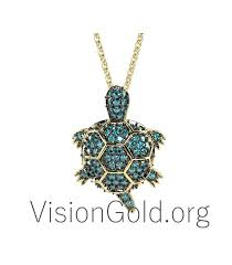 gold turtle necklace with diamonds br0152