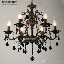 6 lamps pendant lighting vintage interior decoration crystal classic black room light american wrought iron hanging lamp re rustic chandeliers white