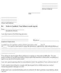 Notice To Tenant To Make Repairs Letter From Tenant To Landlord About Landlords Failure To Make