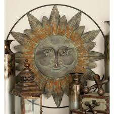 bronze finished metal celestial sun wall decor