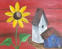 coffee and canvas bird house with sunflower