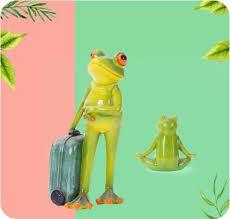 miniature yoga frog garden statue