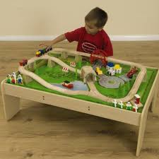 small world wooden train set and table