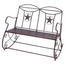 lone star outdoor rocking bench