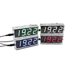 4 digit diy digital led clock kit light control temperature display transpa case blue