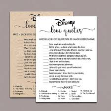 Funny Disney Movie Quotes Extraordinary Disney Love Quotes Game Printable Instant Download Rustic Etsy
