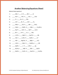 balance chemical equations worksheet balancing equations questions and