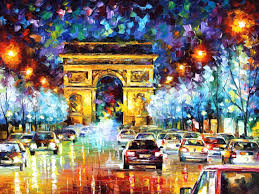 paris flight palette knife oil painting on canvas abstract art by leonid afremov size
