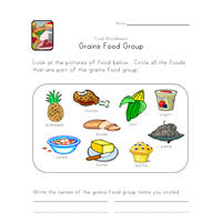 Small Picture Food Groups Worksheets All Kids Network