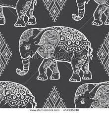 Elephant Pattern Enchanting Card Elephant Frame Animal Made Vector Stock Vector Royalty Free
