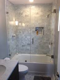 tub shower combo ideas moden white wooden frame glass door mediumshower in glass area stainless steel