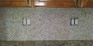 ceramic penny backsplash ideas in gray color