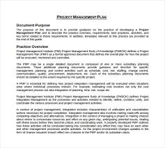 Sample Project Plan Outline Project Management Plan Example Template Business
