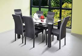 royaloak micra 6 seater dining set with tempered glass top and veneer finish