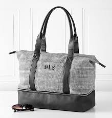 personalized canvas tote with leather handles view 1