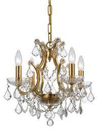 crystorama ore 4 light crystal gold mini chandelier