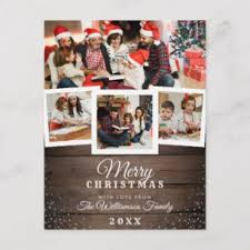 Vintage Wood Snow Holiday 4 Photo Card