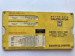 Details About Vintage Square D Company 1972 Motor Data Calculator Slide Rule Chart