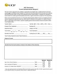 Authorization Request Form Classy UCF Travel Authorization Request Form