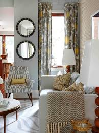 Yellow Black And Red Living Room Living Room Gray Sofa White Bookcases Brown Ceiling Fans Black