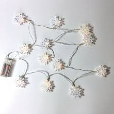Battery Life Led Christmas Lights Snowflake Lighted Garland 12 White Tin Snowflake Lights