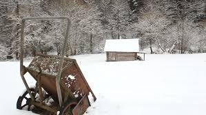 wooden cottage in the middle of a snow covered forest wooden baby sled maybe that they rode a little santa