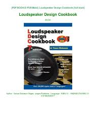 Speaker Design Book Pdf Book Reading Loudspeaker Design Cookbook Pdf Book
