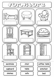 furniture parts. furniture (drag and drop) worksheet preview parts