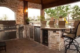 outdoor brick kitchen designs. stone outdoor kitchen with wine fridge brick designs o